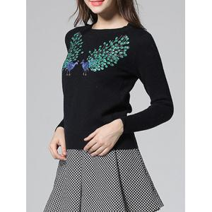 Peacock Embroidery Sequin Sweater -
