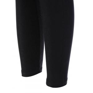 Elastic Skinny Ninth Pants with Pockets - BLACK 3XL