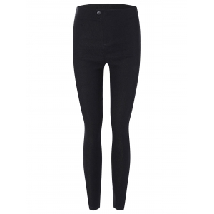 Elastic Skinny Ninth Pants with Pockets