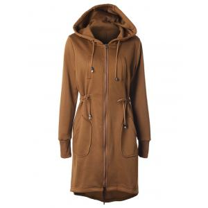 Hooded Drawstring Brown Hoodie - Camel - S