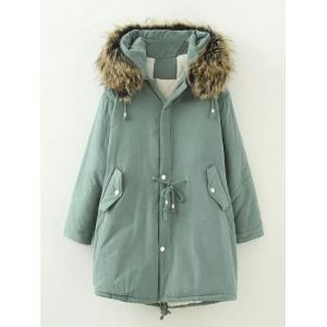 Plus Size Drawstring Parka Long Winter Jacket - Army Green - 4xl