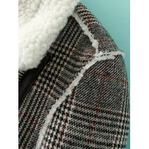 Checked Plus Size Lamb Long Wool Coat - GRAY 3XL