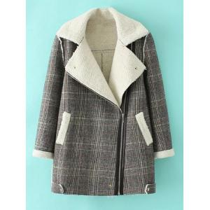 Checked Plus Size Lamb Long Wool Coat