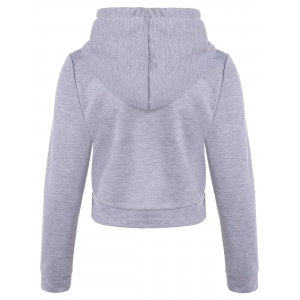 Graphic Print Pullover Cropped Hoodie - LIGHT GRAY S