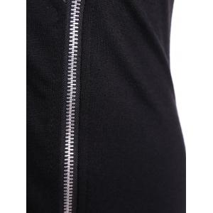 V Neck Zipper Front Bodycon Dress -