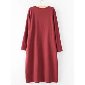 Casual Plus Size Long Sleeve Midi Shift Dress -