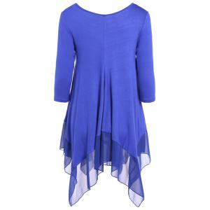 Asymmetrical V Neck Chiffon Panel T-Shirt - BLUE XL