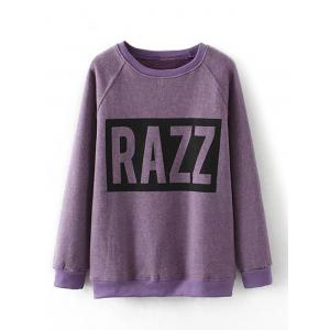 Plus Size Letter Print Graphic Sweatshirt - Purple - 2xl