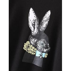 Plus Size Crew Neck Rabbit Print Sweatshirt - BLACK 2XL
