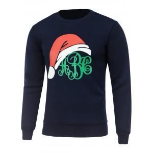 Crew Neck Long Sleeve Christmas Hat Print Sweatshirt - Cadetblue - 3xl