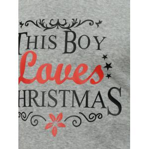 Crew Neck Long Sleeve Christmas Graphic Sweatshirt - GRAY L