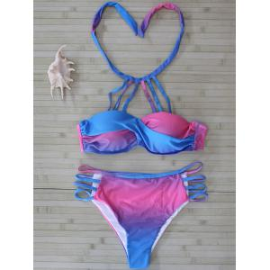 Color Block Halter Cut Out Bikini Set