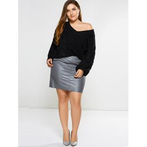 Embellished Faux Leather Skirt -