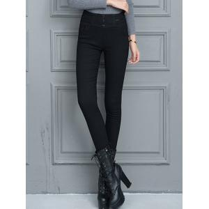 Slim Fit High Waist Winter Pencil Pants - Black - L