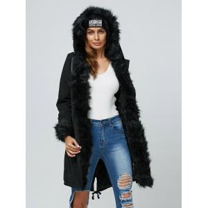 Faux Fur Hooded Parka Long Winter Jacket - BLACK 2XL