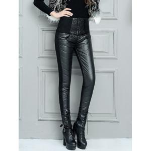 Zippered Pencil Down Pants - Black - M