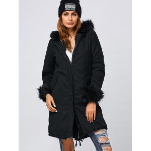 Black S Faux Fur Hooded Parka Long Winter Jacket | RoseGal.com