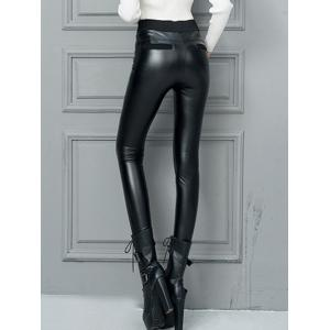 Faux Leather High Waisted Skinny Pants - BLACK XL