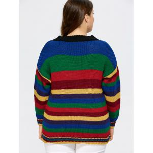 V neck Striped Sweater - COLORMIX ONE SIZE