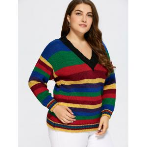 col V Pull à rayures - Multicolore TAILLE MOYENNE