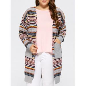 Open Front Knit Striped Cardigan