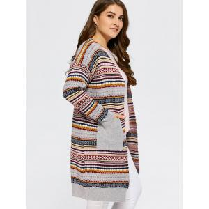 Open Front Knit Striped Cardigan - GRAY ONE SIZE