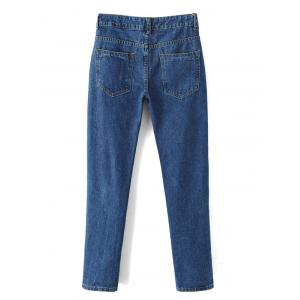 Embroidered Cigarette Jeans - DENIM BLUE XL
