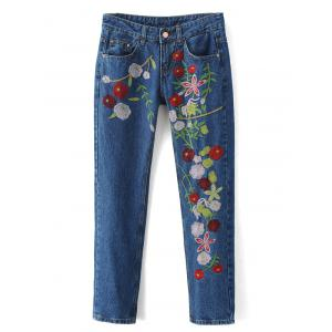 Embroidered Cigarette Jeans