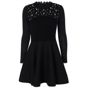 Long Sleeve Embellished Flat and Flare Modest Dress