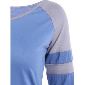 Raglan Sleeve Asymmetrical Striped T-Shirt - BLUE XL