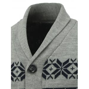 Button Front Reindeer Snowflake Christmas Cardigan - GRAY XL