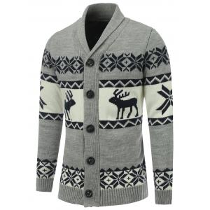 Shawl Collar Reindeer Snowflake Button Up Cardigan - Gray - Xl