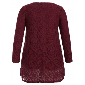 Hollow Out Long Sleeve Mini Lace Dress -