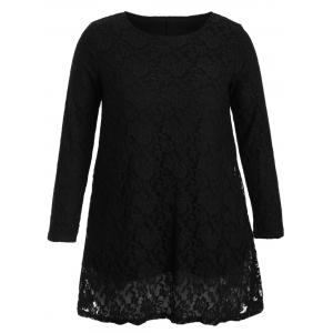Hollow Out Long Sleeve Mini Lace Dress - Black - L