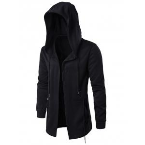 Cloak Hooded Waist Open Front Hoodie - Black - M