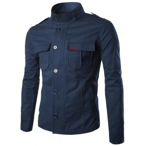 Multi Pocket Embroidered Epaulet Design Jacket