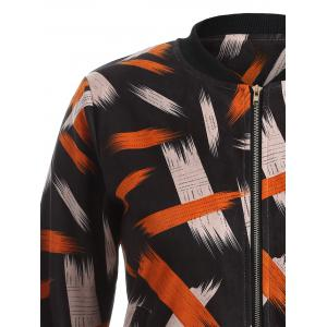 Graffiti Print Stand Collar Bomber Jacket -