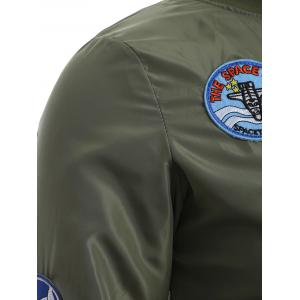 Badge Design Zip Up Bomber Jacket - ARMY GREEN 5XL