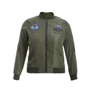 Badge Design Zip Up Bomber Jacket - Army Green - 3xl