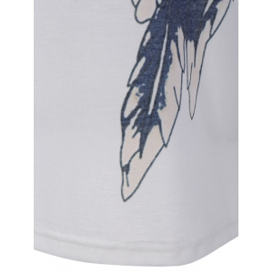 Wings Printing V Neck Long Sleeve Tee - WHITE XL