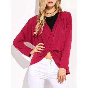 Asymmetrical Dolman Sleeve Criss Cross Tee