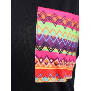 Front Pocket Geometric Pattern Tee - BLACK XL