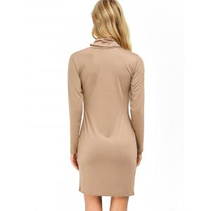 Cowl Neck Slit Slimming Long Sleeve Day Dress - KHAKI XL