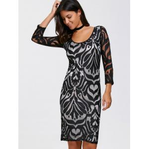Scoop Neck Jacquard Lace Sheath Dress - BLACK L