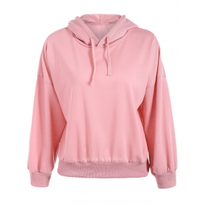 Drop Shoulder Hoodie - Pink - One Size
