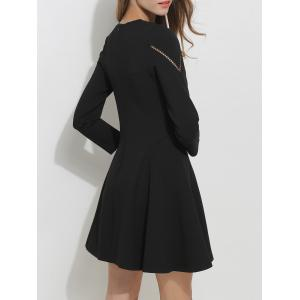Openwork Long Sleeve Fit and Flare Skater Dress - BLACK XL