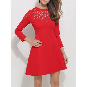 Openwork Long Sleeve Fit and Flare Skater Dress - RED M