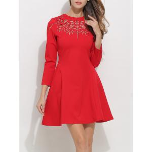 Openwork Long Sleeve Fit and Flare Skater Dress