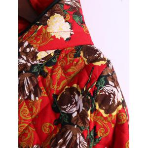 Flower Print Hooded Padded Coat -