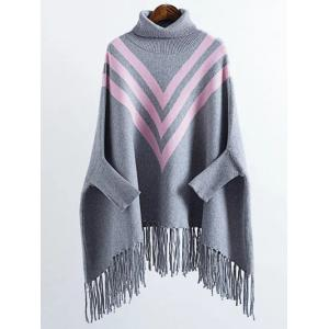 Turtleneck Oversized Fringed Batwing Long Sweater - Gray - One Size